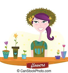 primavera, mujer, flores, jardín