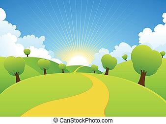 Primavera o temporadas de verano fondo rural