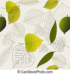 primavera, resumen, seamless, leafs, patrón