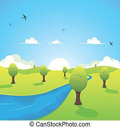 primavera, verano, vuelo, o, río, golondrinas