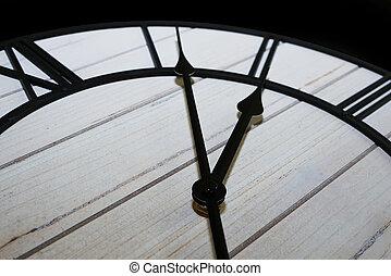 primer plano, antigüedad, cara, detail., manos, viejo, reloj