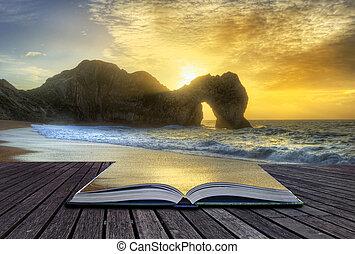 primer plano, encima, concepto, imagen, creativo, roca, océano, pila, salida del sol