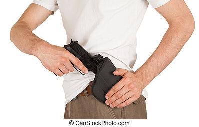 primer plano, pistolera de arma de fuego, hombre