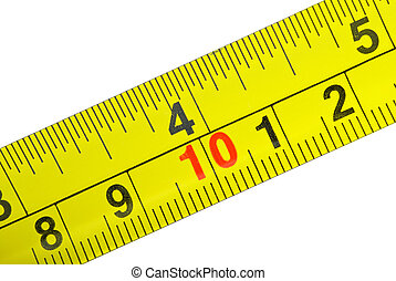 primer plano, tiro, metal, amarillo, cinta, medida