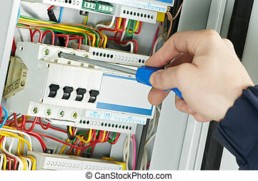 primer plano, trabajo, electricista