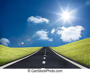 primero, camino, afuera, horizonte