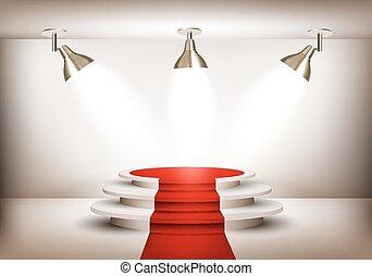 primero, lights., tres, podio, vector, sala de exposición, alfombra roja