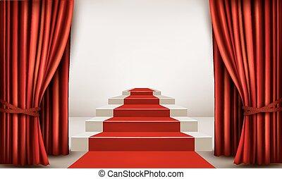 primero, podio, vector, sala de exposición, curtains., alfombra roja