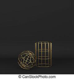 primitives, alambró, resumen, geométrico, conjunto