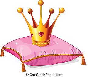 princesa, almohada, corona, rosa