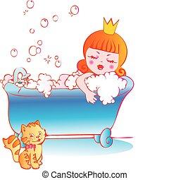 Princesa bañándose.