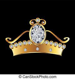 Princesa corona en oro y diamantes