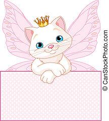 Princesa Gato sobre una señal en blanco