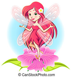Princesa hada volando por encima de una corriente