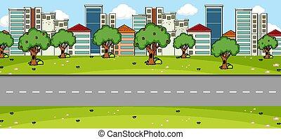 principal, escena, parque, calle vacía, paisaje