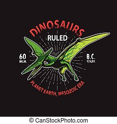 print., dinosaurio, camiseta