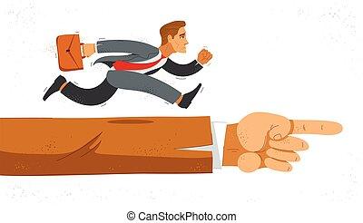 prisa, success., jefe, corra, ilustración, divertido, lindo, trabajador, o, simboliza, carrera, caricatura, empresa / negocio, motivación, cómico, vector, apuro, empleado, señalar, mano, hombre