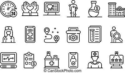 privado, contorno, iconos, estilo, conjunto, clínica