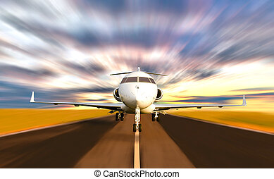 privado, movimiento de la falta de definición, toma, chorro, de, avión