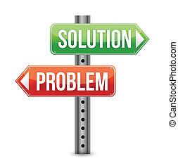 problema, illustra, solución, muestra del camino