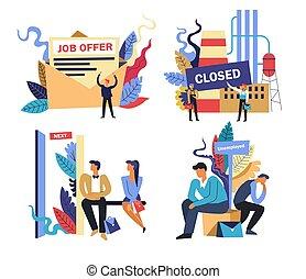 problema, oferta, trabajo, aislado, acortamiento, trabajo, iconos, lugar de trabajo, desempleo