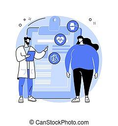 problema, resumen, salud, concepto, obesidad, illustration., vector