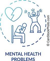 problemas, salud, icono, mental, concepto