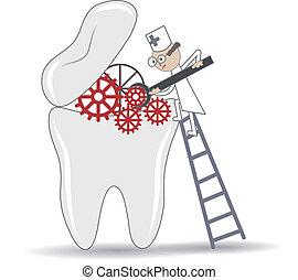 Procedimiento de tratamiento de dientes abstractos, ilustración conceptual dental