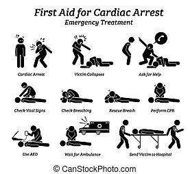 procedimientos, tratamiento, ayuda, respuesta, figura palo, icons., arresto, emergencia, cardíaco, primero