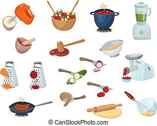 proceso, cocina, conjunto