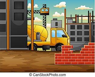 Proceso de trabajo en construcción con grúas y máquinas