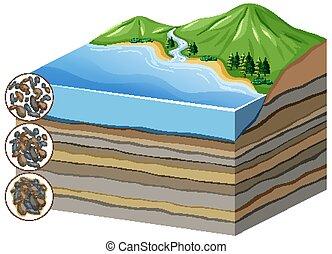 proceso, diagrama, compaction, cementation, capas, actuación