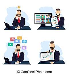 proceso, empresa / negocio, hombre de negocios