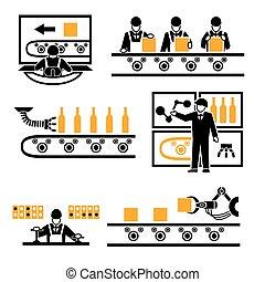 proceso, producción, fábrica, iconos