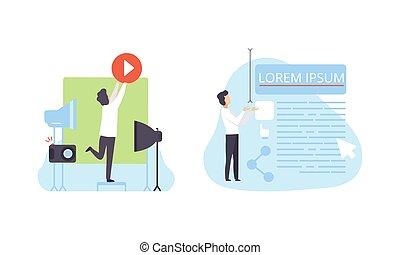 proceso, tecnología, gente, crear, contenido, vídeo, ilustración, plano, vector, desarrollo, software