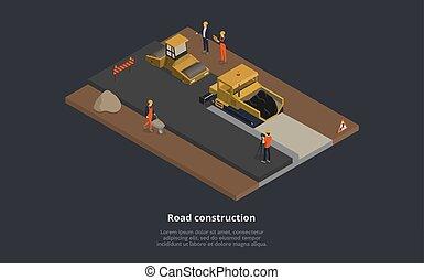process., suit., llevando, camino, macho, señal, vector, superior, ilustración, construcción, uniforme, concept., caricatura, calle, trabajando, naranja, composición, caracteres, maquinaria, estilo, 3d, isométrico