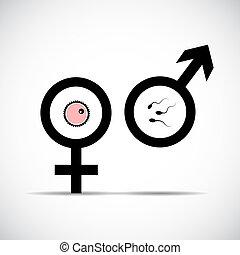 Procreación masculina del símbolo femenino