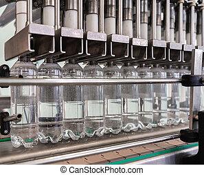 producción, bottles., agua, plástico, línea., máquina, vierte