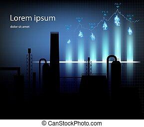 Producción de gas. Ilustración de vectores de gráficos financieros