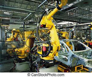 producción del coche, línea