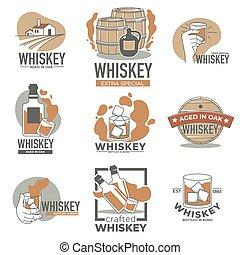 producción, whisky, etiqueta, alcohol, viejo, roble