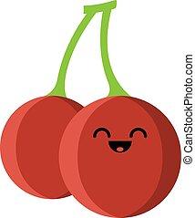 product., fruta, fondo., caricatura, niños, kawaii, divertido, berry., colorido, cara, lindo, plano, blanco rojo, cereza, personage., design., amistoso, aislado