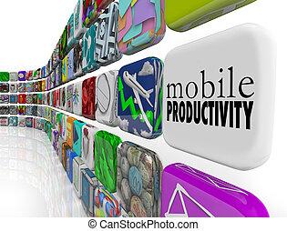 productividad, trabajando, móvil, apps, remotely, ir, software
