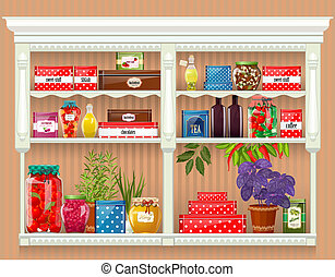producto, alimento, preservado, fresco, botellas, hogar, vidrio