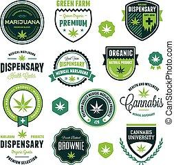 producto, etiquetas, marijuana