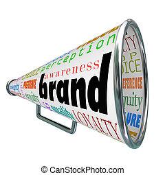 producto, fidelidad a una marca, publicidad, megáfono, conocimiento, construya