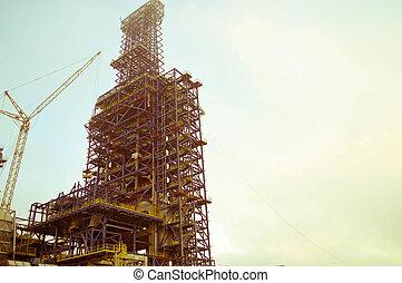 producto petroquímico, grande, construcción, grúas, planta, aceite, ayuda, refinería, químico, instalación