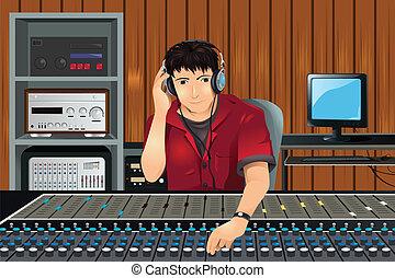 Productor de música en el estudio