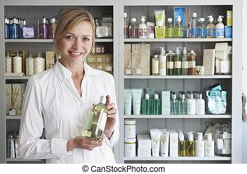 productos, aconsejar, esteticista, belleza