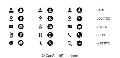 productos, clip, iconos, website., símbolo, moderno, aislado, blanco, arte, vector, dirección, tarjeta, empresa / negocio, email, design., conjunto, teléfono, servicios, número, fondo.